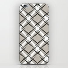 Black, Grey and White Criss-Cross Plaid Pattern iPhone Skin