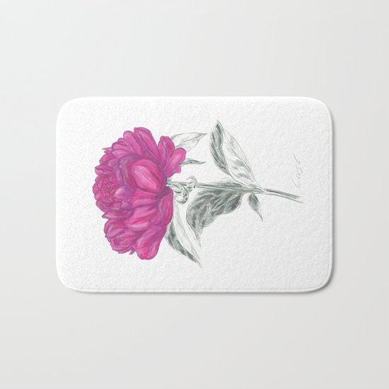 Peony 01 Botanical Flower *Pink, Magenta Bath Mat