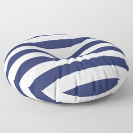 Navy Blue and White Stripes Floor Pillow