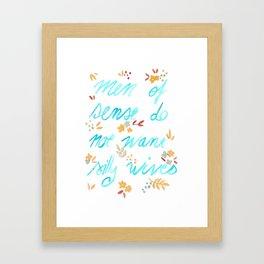 Men of sense do not want silly wives - Turquoise & Orange Palette Framed Art Print