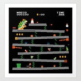 Super Mario x Donkey Kong level mockup Art Print