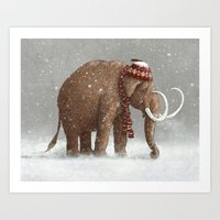 brown Art Prints featuring The Ice Age Sucked by Terry Fan