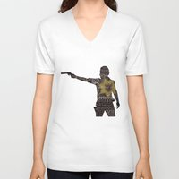 rick grimes V-neck T-shirts featuring Rick Grimes with Quotes by rlc82