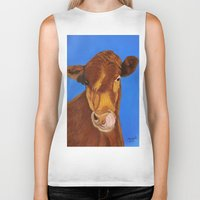 cow Biker Tanks featuring Cow by maggs326