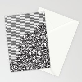 Modern Hand Drawn Foliage Leaves and Stripes Stationery Cards