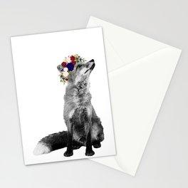 Black White Fox Navy Burgundy Flower Crown Stationery Cards