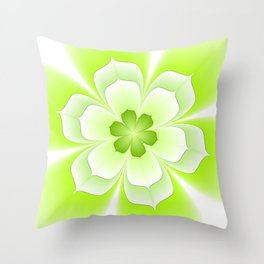 Flower Green And White, Floral Fractal Art Throw Pillow
