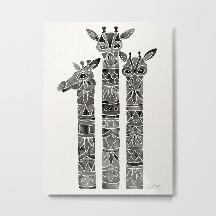 Black Giraffes Metal Print