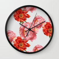 vintage floral Wall Clocks featuring vintage floral by cardboardcities