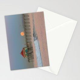 Moonset Huntington Beach Pier   1/16/14 Stationery Cards