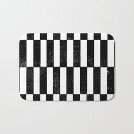 Minimal linocut black and white geometric pattern basic lines stripes Bath Mat