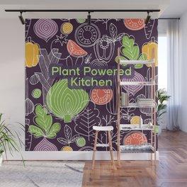 Plant Powered Kitchen Veggie Pattern Background Wall Mural
