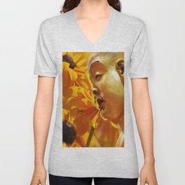 Buddha mit gelben Blumen Unisex V-Neck