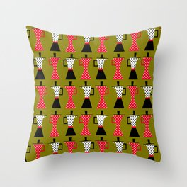 Ole coffee pot in olive green Throw Pillow