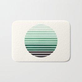 Deep Green Mid Century Modern Minimalist Scandinavian Colorful Stripes Geometric Pattern Round Circl Bath Mat