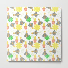 seamless pattern with flowers and butterflies Metal Print