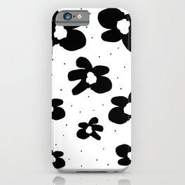 Black Marimekko style flowers on white  iPhone Case