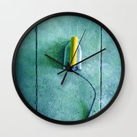 iron maiden Wall Clocks featuring iron by Claudia Drossert