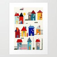 the neighbourhood Art Prints featuring Tiny Neighbourhood by Thereza Rowe