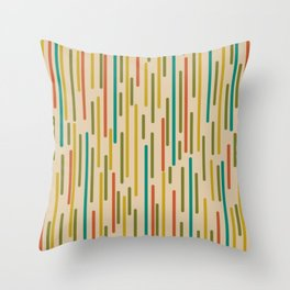 Mid Century Mod Line Dance Pattern in Orange, Teal, Mustard, Olive, and Beige Throw Pillow