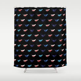 Red and blue shrimp Shower Curtain