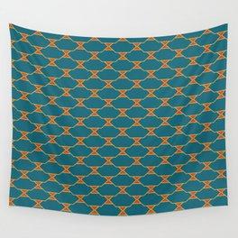 Mid century Diamond pattern Orange Blue Wall Tapestry