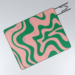 Liquid Swirl Retro Abstract Pattern in Pink and Bright Green Picnic Blanket