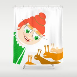 girl and snails Shower Curtain
