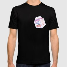 Peach Milk Black LARGE Mens Fitted Tee