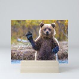 Funny Gorgeous Brown Bear Fishing Looks Like He Is Waving At Us Ultra HD Mini Art Print