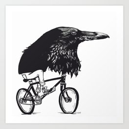 Black Bird Riding Art Print