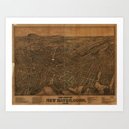 Vintage Pictorial Map of New Haven CT (1879) Art Print