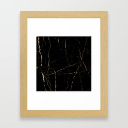 Black and gold marble Framed Art Print