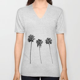 Black + White Palm Trees Unisex V-Neck