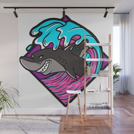 Shark surfing on wave Wall Mural