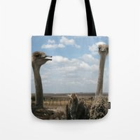 ostrich Tote Bags featuring Ostrich by wendygray