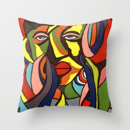 African Traditional Tribal Women Abstract Art Canvas Painting Series - 3 Throw Pillow