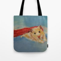 superheros Tote Bags featuring Hamster Superhero by Michael Creese