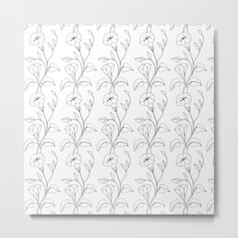 Floral Drawing in black and white Metal Print