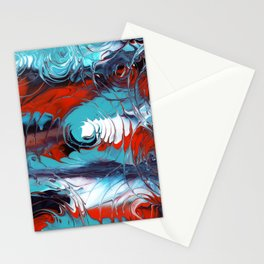 Rain drops / A Vortex of Blues red and white Stationery Cards