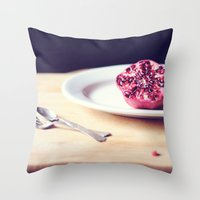 pomegranate Throw Pillows featuring pomegranate by Mary Carroll