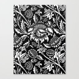 William Morris Sunflowers, Black and White with Gray Canvas Print