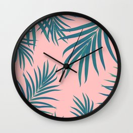 Palm Leaves Pattern Blush Vibes #1 #tropical #decor #art #society6 Wall Clock