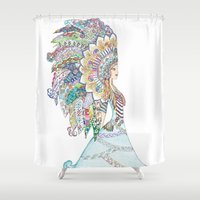headdress Shower Curtains featuring Native American Headdress by apinarbal