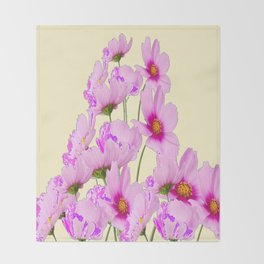 PINK COSMOS GARDEN FLOWERS ON CREAM COLOR Throw Blanket