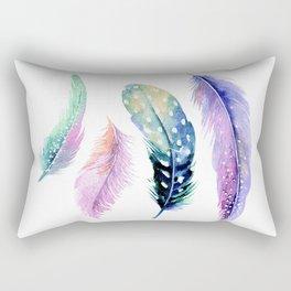 Watercolor Feather Rectangular Pillow