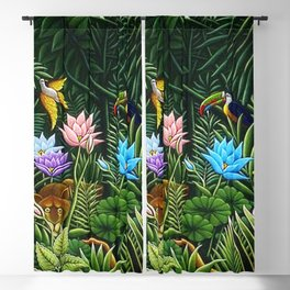 Classical Masterpiece 'Tropical Birds and Flying Things' by Henry Rousseau Blackout Curtain