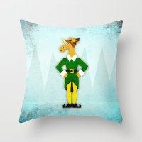elf Throw Pillows featuring Elf Unicorn by That's So Unicorny