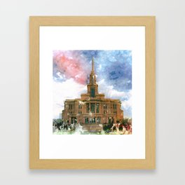 Payson LDS Temple Watercolor Photo Framed Art Print
