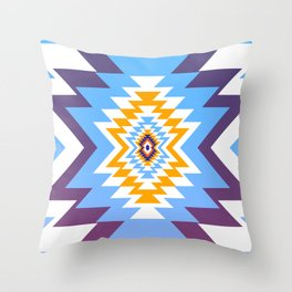 Bright blue native pattern Throw Pillow